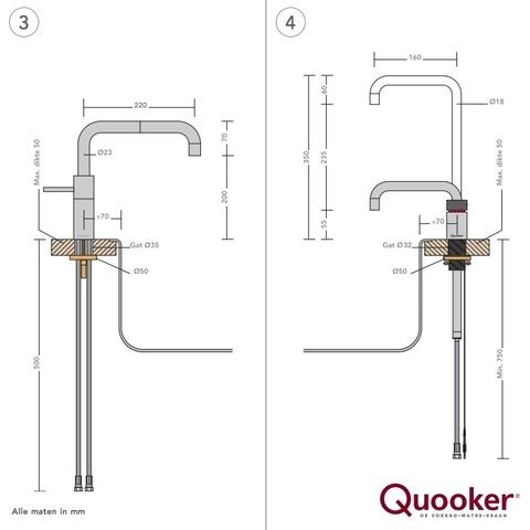 Quooker Nordic Square Twintaps keukenmengkraan+kokend water tapkraan - glans nikkel - met Pro3 boiler