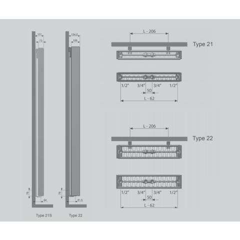 Thermrad Vertical Plateau paneelradiator type 21 - 220 x 60 cm (H x L)