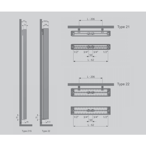 Thermrad Vertical Plateau paneelradiator type 22 - 220 x 60 cm (H x L)