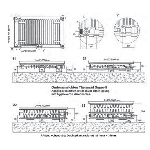 Thermrad Super 8 Plateau paneelradiator type 22 - 220 x 40 cm (L x H)