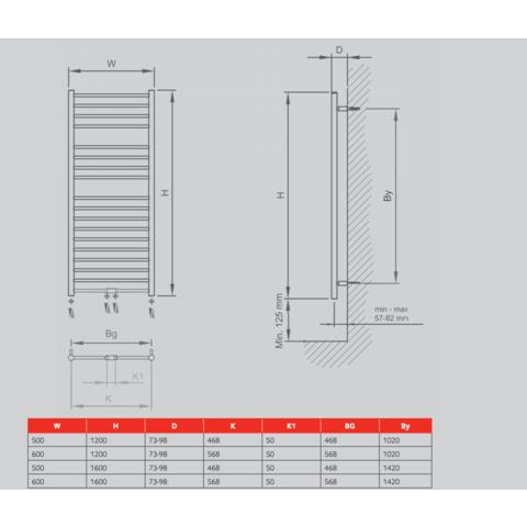 Thermrad RVS Lina handdoekradiator 120 x 60 cm (H X L) geborsteld RVS (mat)