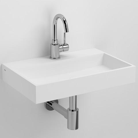 Clou Mini Wash Me Plus fontein 48cm met voorbewerkt kraangat wit aluite