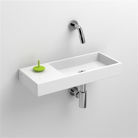 Clou Mini Wash Me fontein 45cm zonder kraangat, plateau links keramiek