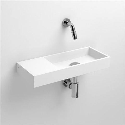 Clou Mini Wash Me fontein 45cm met voorbewerkt kraangat, plateau links aluite