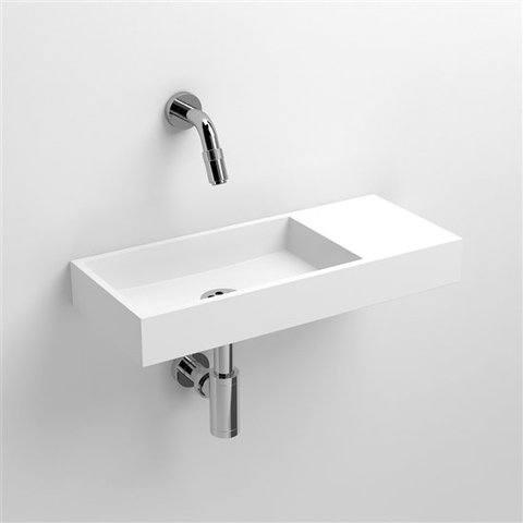 Clou Mini Wash Me fontein 45cm met voorbewerkt kraangat, plateau rechts aluite