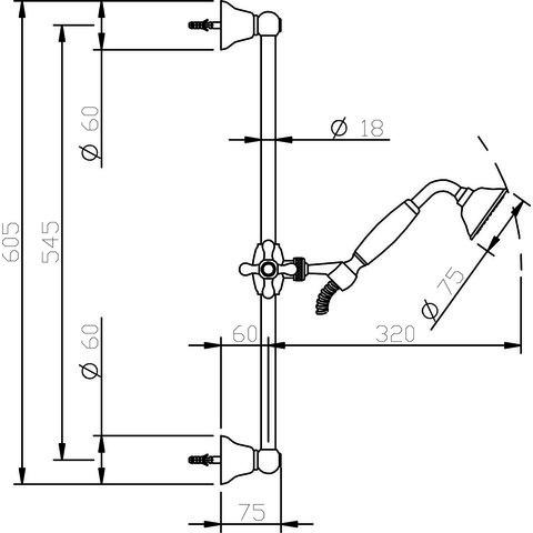 Hotbath Amice M250 glijstangset 60,5cm met handdouche