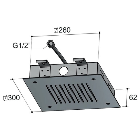Hotbath Mate M171 hoofddouche vierkant 30cm geborsteld nikkel