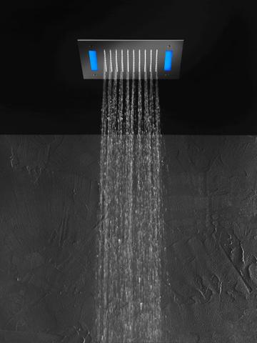 Hotbath Mate M172 hoofddouche vierkant 30cm met blauwe LED verlichting geborsteld nikkel