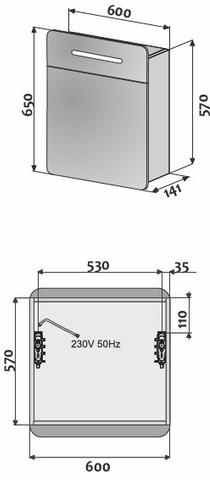 Blinq Samara Round spiegelkast 60 cm. met led verlichting zilver
