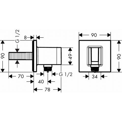 Hansgrohe Fixfit Porter Square handdouchehouder +muuraansluitbocht chroom