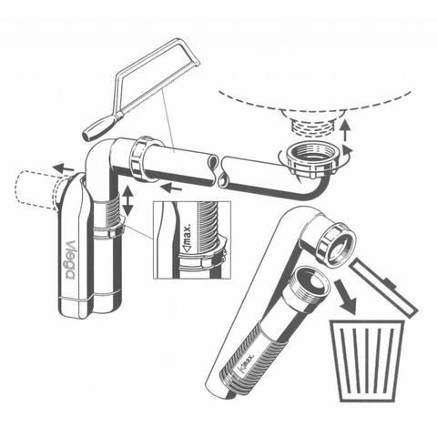 Viega Compact ruimtebesparende meubelsifon wit met rubber manchet