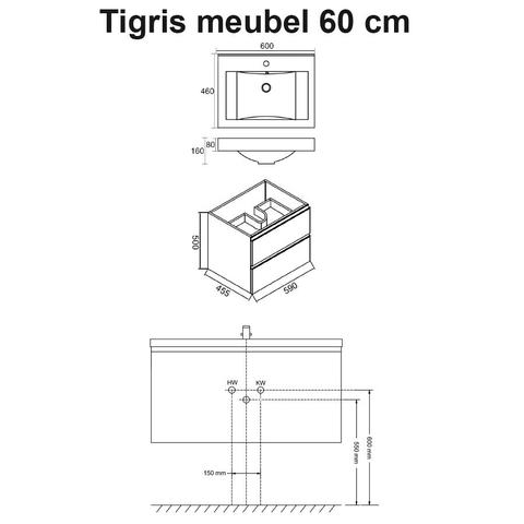 Wiesbaden badmeubel Tigris 60cm hoogglans wit