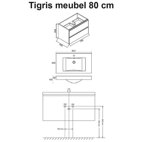 Wiesbaden badmeubel Tigris 80cm houtnerf grijs