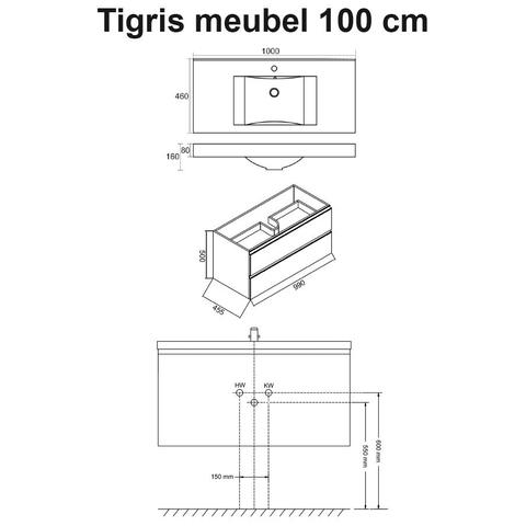 Wiesbaden badmeubel Tigris 100cm hoogglans wit