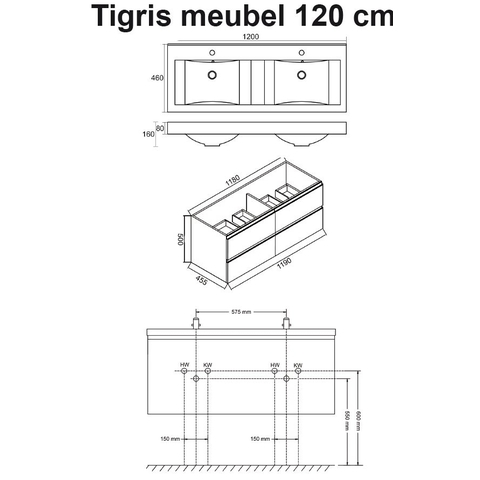 Wiesbaden badmeubel Tigris 120cm hoogglans wit