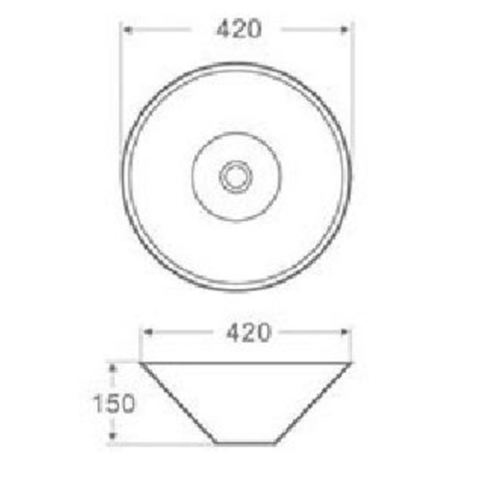 Wiesbaden Circle opzetwastafel 42 x 42 x 15 cm