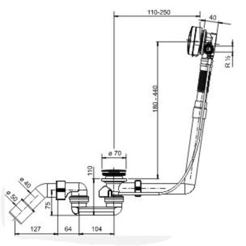 Wiesbaden Cure bad plugoverloopcombintatie + badvulfunctie chroom