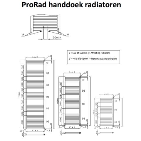 ProRad handdoekradiator 174,2 x 50 cm (H x L) sparkling antraciet