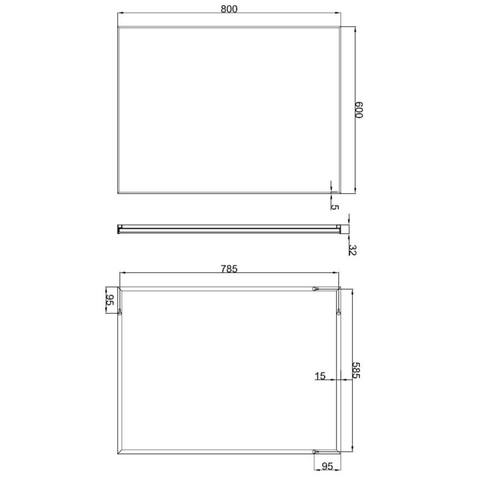 Wiesbaden Edge spiegel 80x60 cm met aluminium lijst