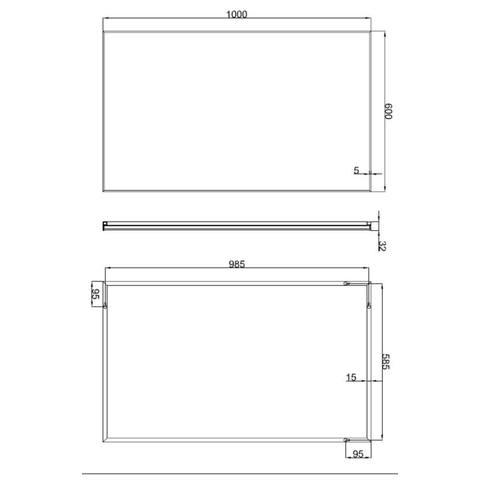 Wiesbaden Edge spiegel 100x60 cm met aluminium lijst