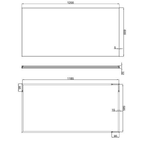 Wiesbaden Edge spiegel 120x60 cm met aluminium lijst
