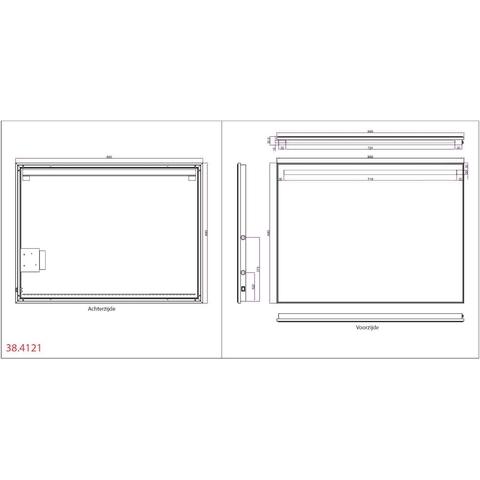 Wiesbaden Ambi one spiegel 80x60 cm met horizontale directe & indirecte LED verlichting & verwarming