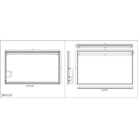 Wiesbaden Ambi one spiegel 100x60 cm met horizontale directe & indirecte LED verlichting & verwarming