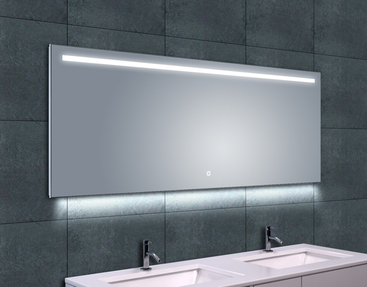 Wiesbaden Ambi one spiegel 160x60 cm met horizontale directe & indirecte LED verlichting & verwarming