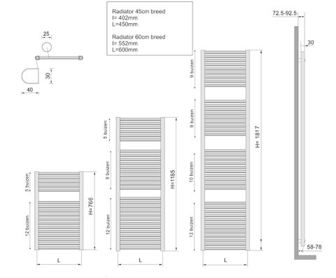 Wiesbaden Elara handdoekradiator 118,5 x 45 cm (H x L) antraciet