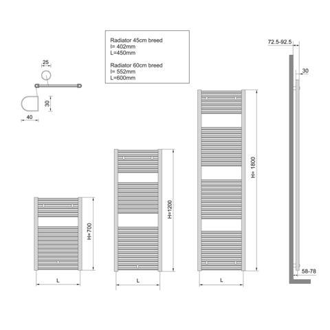 Wiesbaden Elara handdoekradiator 181,7 x 60 cm (H x L) chroom