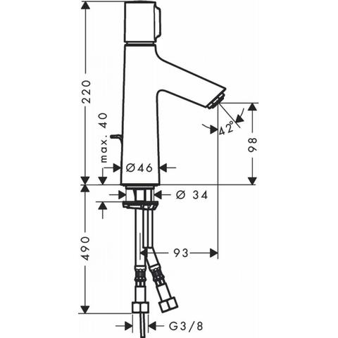 Hansgrohe Talis Select S wastafelkraan 100 met trekwaste chroom