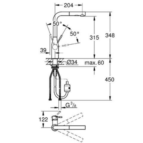 Grohe Essence keukenkraan l-uitloop met dualspray supersteel