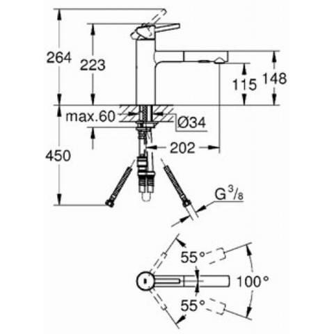 Grohe Concetto keukenkraan met uittrekbare handdouche dualspray chroom