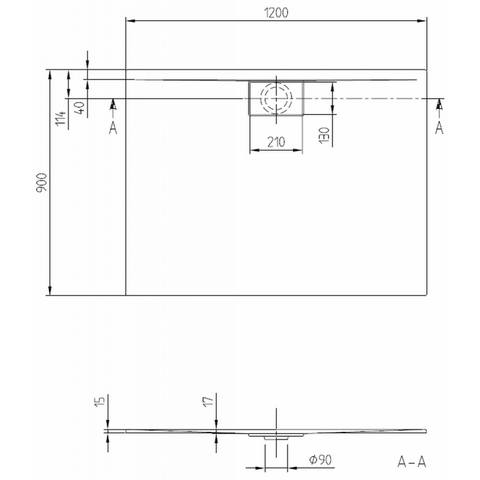 Villeroy & Boch Architectura MetalRim douchebak 120 x 90 x 1.5 cm antraciet
