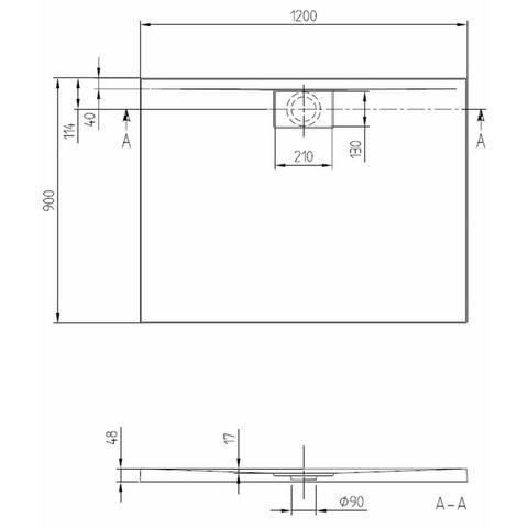Villeroy & Boch Architectura MetalRim douchebak 120 x 90 x 4.8 cm antraciet