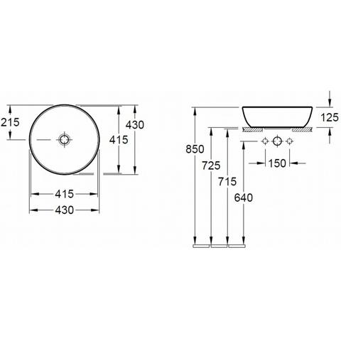 Villeroy & Boch Artis opzetwastafel rond 43cm zonder kraangat zonder overloop wit