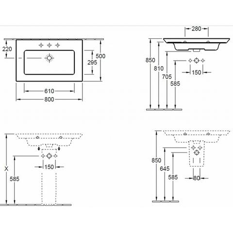 Villeroy & Boch Legato meubelwastafel 80 cm met 1 kraangat met overloop wit