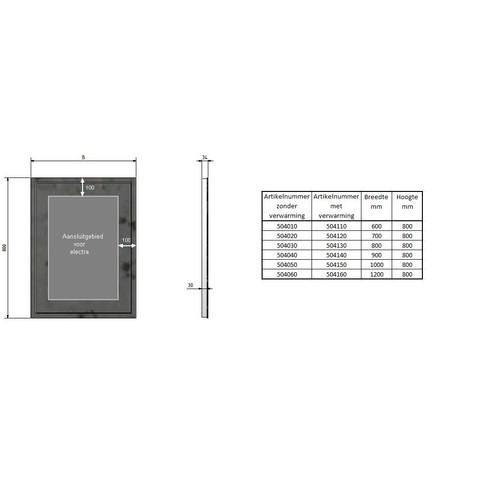 Blinq Nelid spiegel 90x80 decor rondom+ind.led verl+verwarming