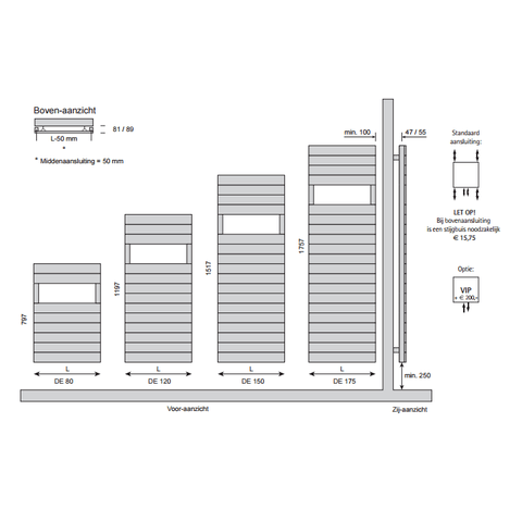 Instamat Deco Enkel designradiator 119.7 x 60 cm (H x L) antraciet metallic