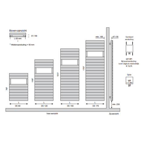 Instamat Deco Enkel designradiator 151.7 x 50 cm (H x L) wit