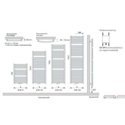 Instamat Inox Straight badkamerradiator 121 x 60,5 cm (H x L) gepolijst rvs