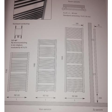 Instamat Nera designradiator 113 x 45 cm (H x L) wit