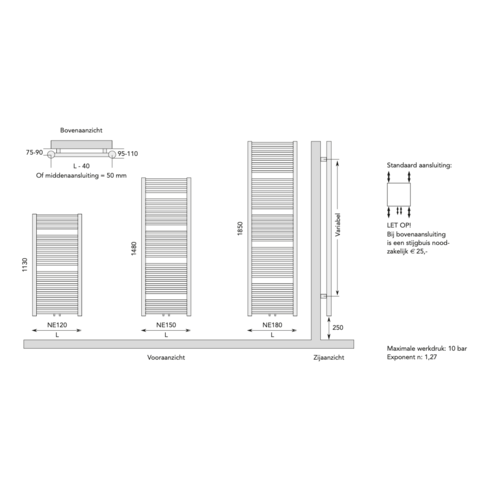 Instamat Nera designradiator 185 x 45 cm (H x L) grijs