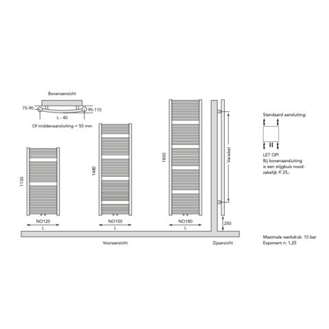 Instamat Nola designradiator 113 x 45 cm (H x L) grijs