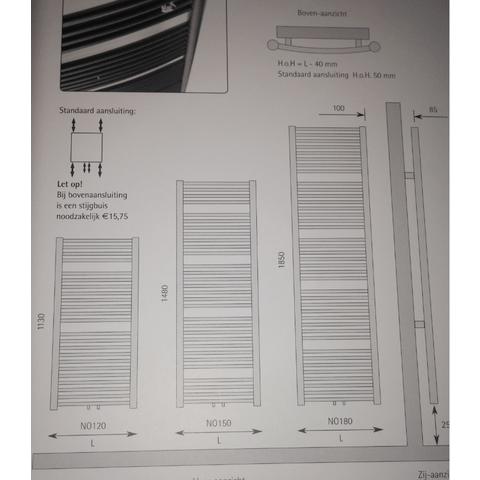 Instamat Nola designradiator 148 x 45 cm (H x L) wit