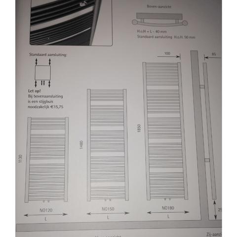 Instamat Nola designradiator 185 x 45 cm (H x L) grijs