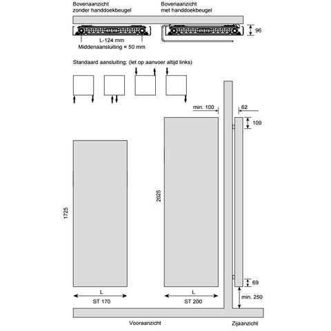 Instamat Stretta designradiator 172,5 x 57 cm (H x L) grijs