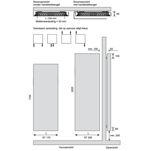 Instamat Stretta designradiator 172,5 x 67 cm (H x L) wit