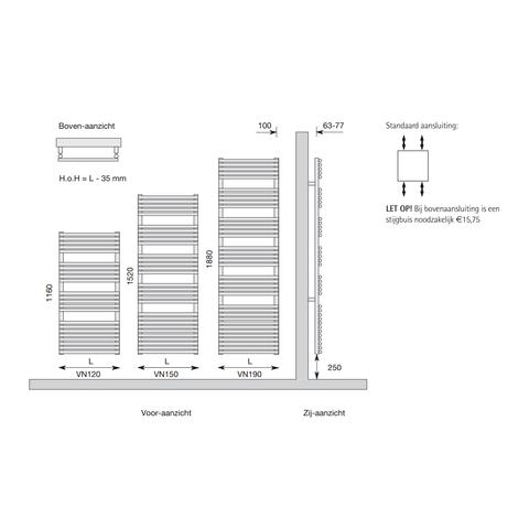 Instamat Vena badkamerradiator 116 x 43,5 cm (H x L) antraciet metallic