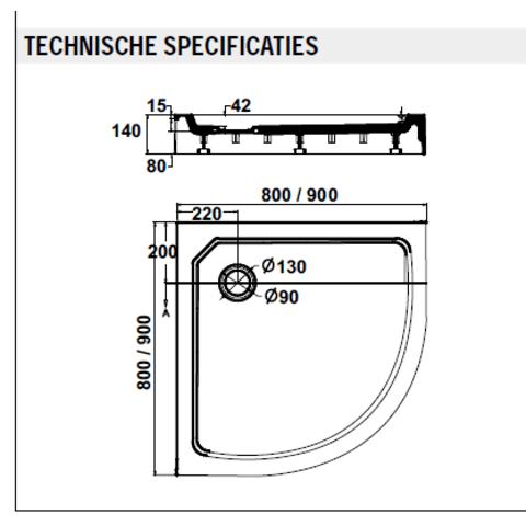 Sealskin Get Wet Fusion douchebak kwartrond opbouw 80x80 cm